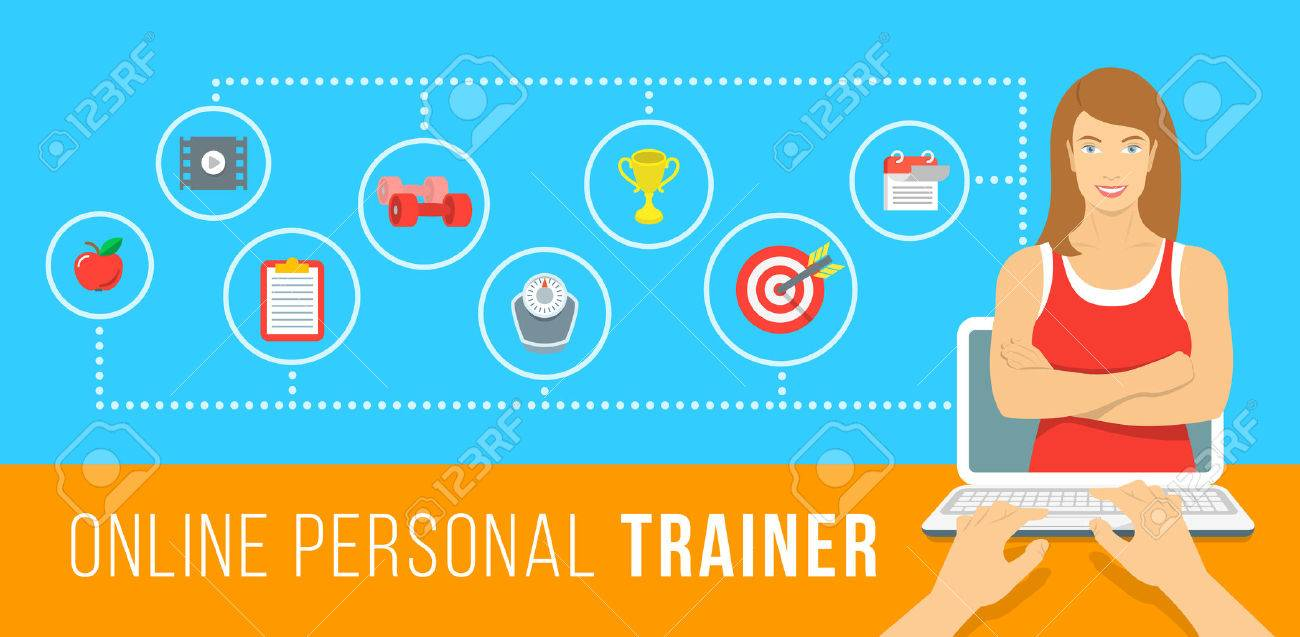f87b733e930 Online personal fitness trainer infographic vector illustration. Concept of  web training with virtual instructor who