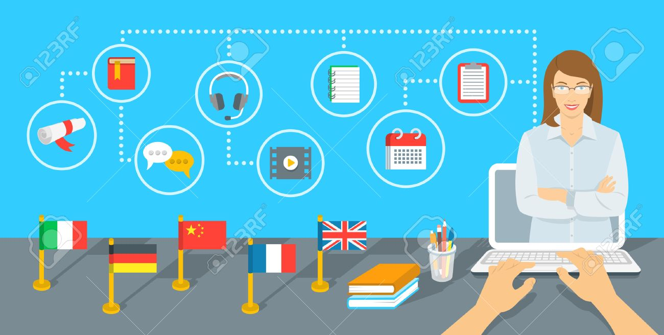 Online Internet language courses flat infographic element. Foreign languages study using computer. English teacher with education icons and flags of different countries standing on a table - 52181248