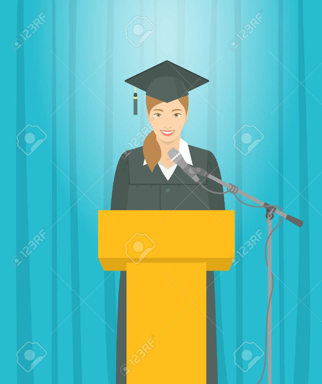 Graduation ceremony speech flat illustration. Young smiling Asian girl graduate in a gown and a mortarboard stands at a podium and gives a graduation speech. Academic education concept - 52208540
