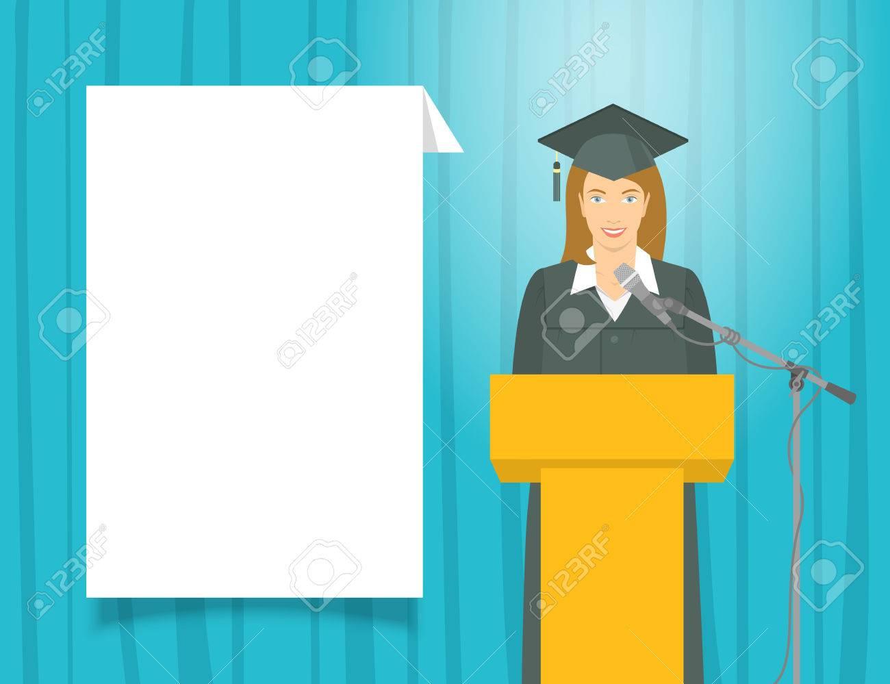 d05058821 Ceremonia Discurso De Graduación Plana Ilustración. Graduado De La Muchacha  Sonriente Joven En Un Vestido Y Un Birrete Se Sitúa En Un Podio Y Da Un  Discurso ...