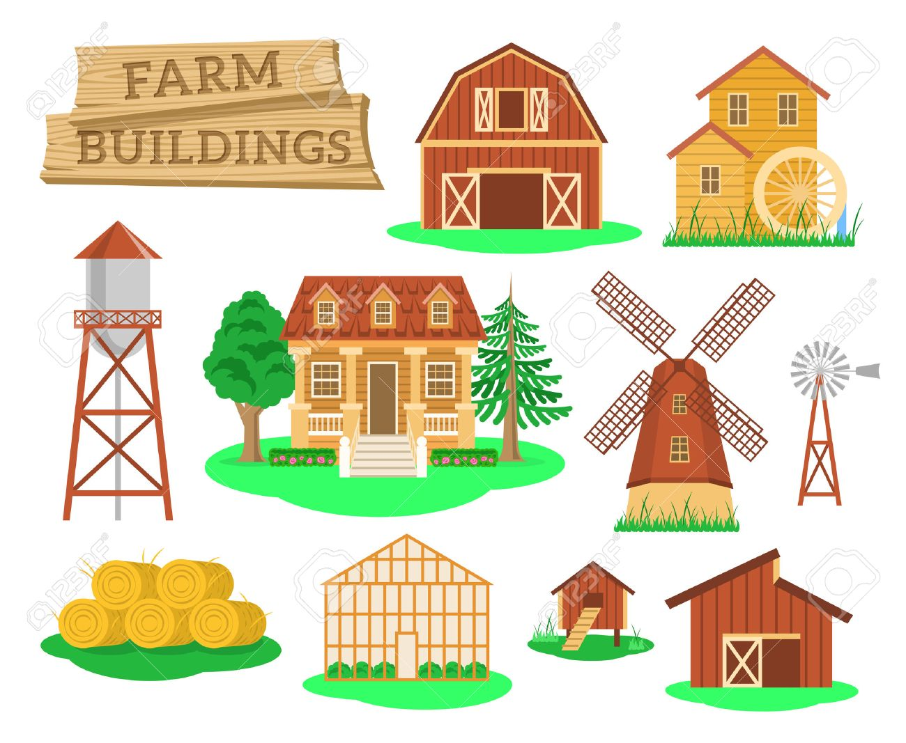 Farm buildings and constructions flat infographic vector elements set. Icons of farmer house, barn, windmill, water mill, greenhouse, water tower etc. Agriculture industry and countryside life objects - 54184434