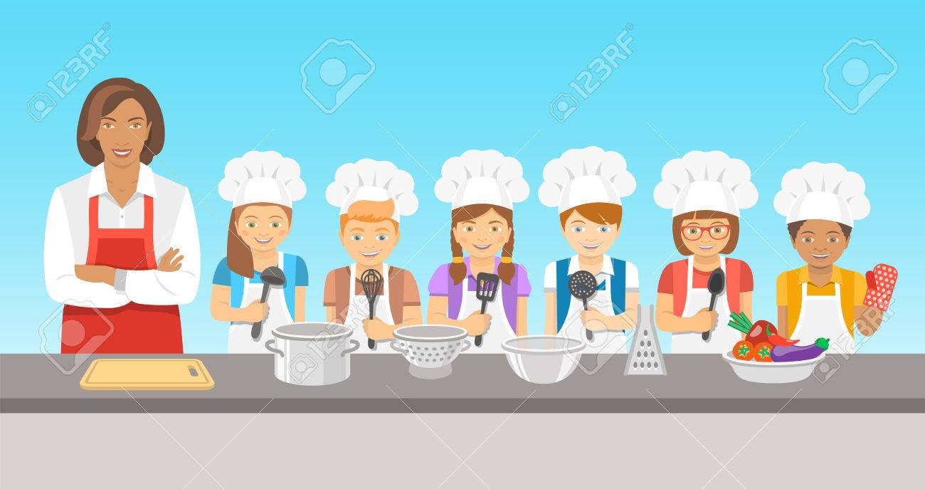 Kids Cooking Class Flat Illustration. Group Of Happy Fun Children ...