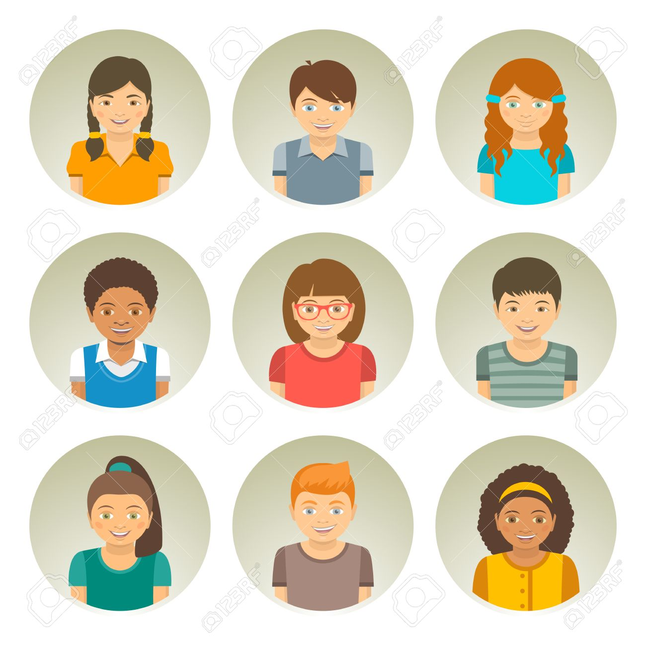 Kids of different races round flat avatars. Happy smiling Caucasian, African American and Asian boys and girls faces. Children characters profile pictures. Portrait infographic cartoon elements - 55146354