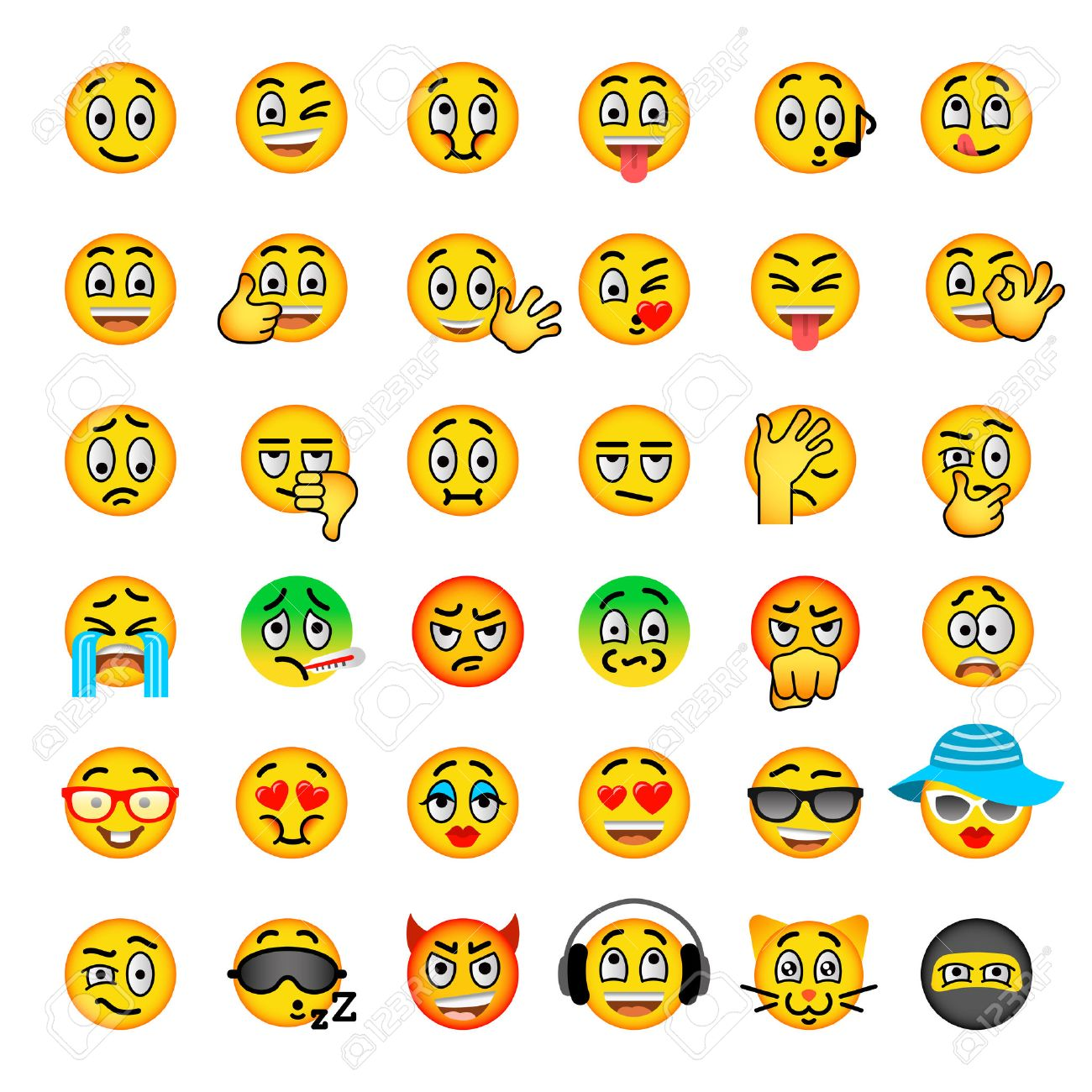 Smiley Face Flat Vector Icons Set Emoji Emoticons Different