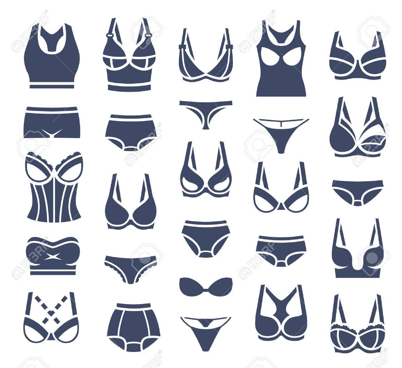 87d67598e8 Diseño de conjunto de sujetador y bragas estilos iconos de la silueta plana.  colección pictograma