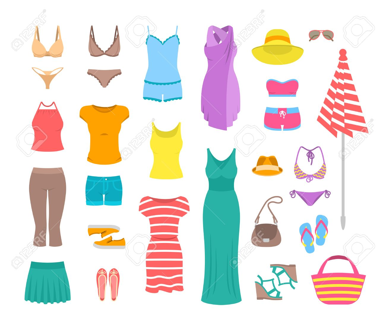 Summer female outfit flat icons. Women clothes and accessories collection for summer vacation. Casual fashion infographic elements. Basic tops, skirt, shorts, shoes, dresses, beach clothing - 58595676