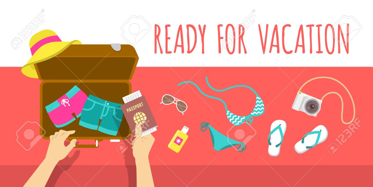 Summer Vacation Flat Illustration Packing Beach Stuff For Time Travel Woman Puts In