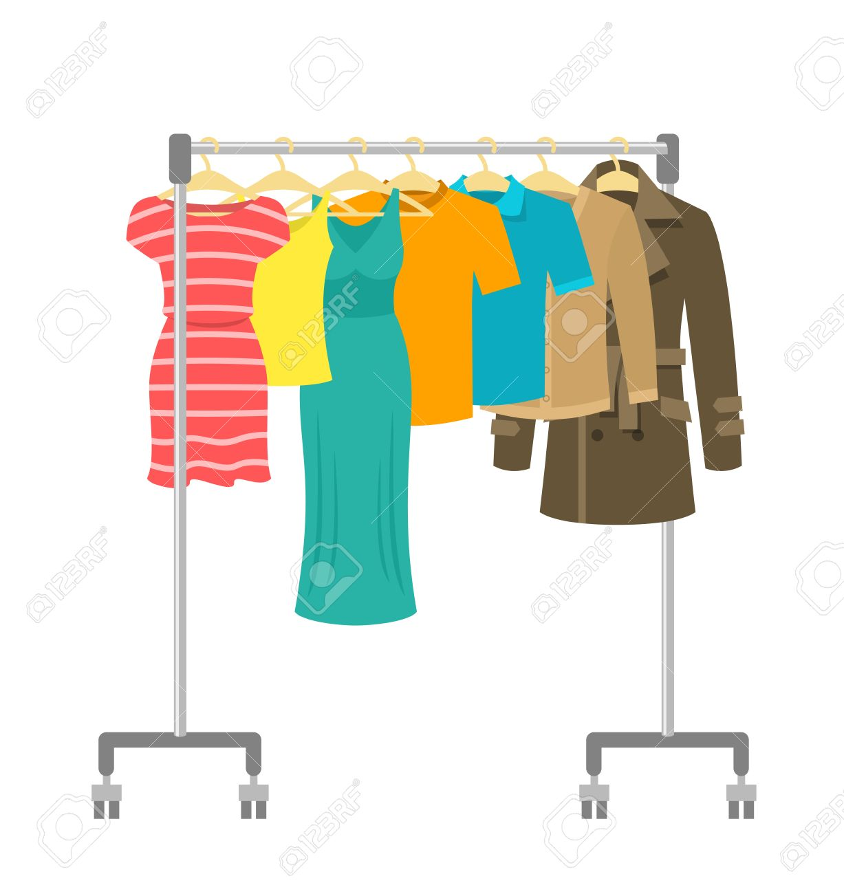 Hanger rack with male and female clothes. Flat style vector illustration. Casual garment hanging on portable rolling metal commercial hanger stand. Everyday outfit sale concept. Fashion collection. - 59194375
