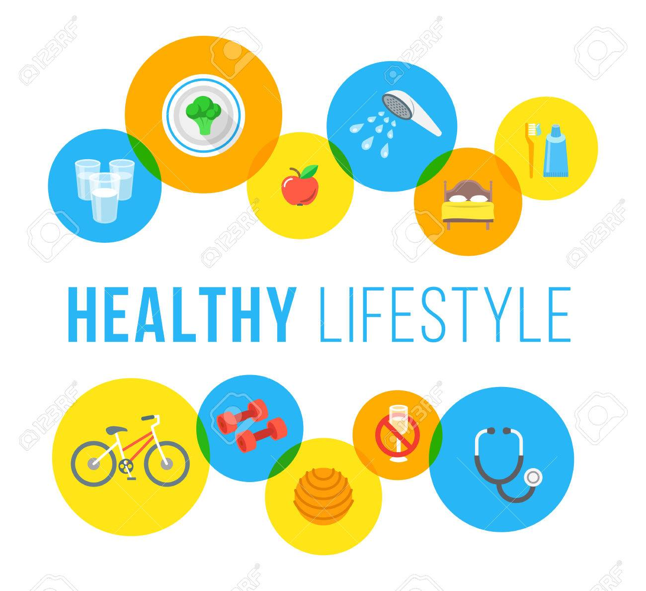 Healthy living flat vector banner. Healthcare and wellness lifestyle background. Regular exercises, daily physical activity, good food, sleep, hygiene, medical exam icons. Fitness infographic elements - 59482585