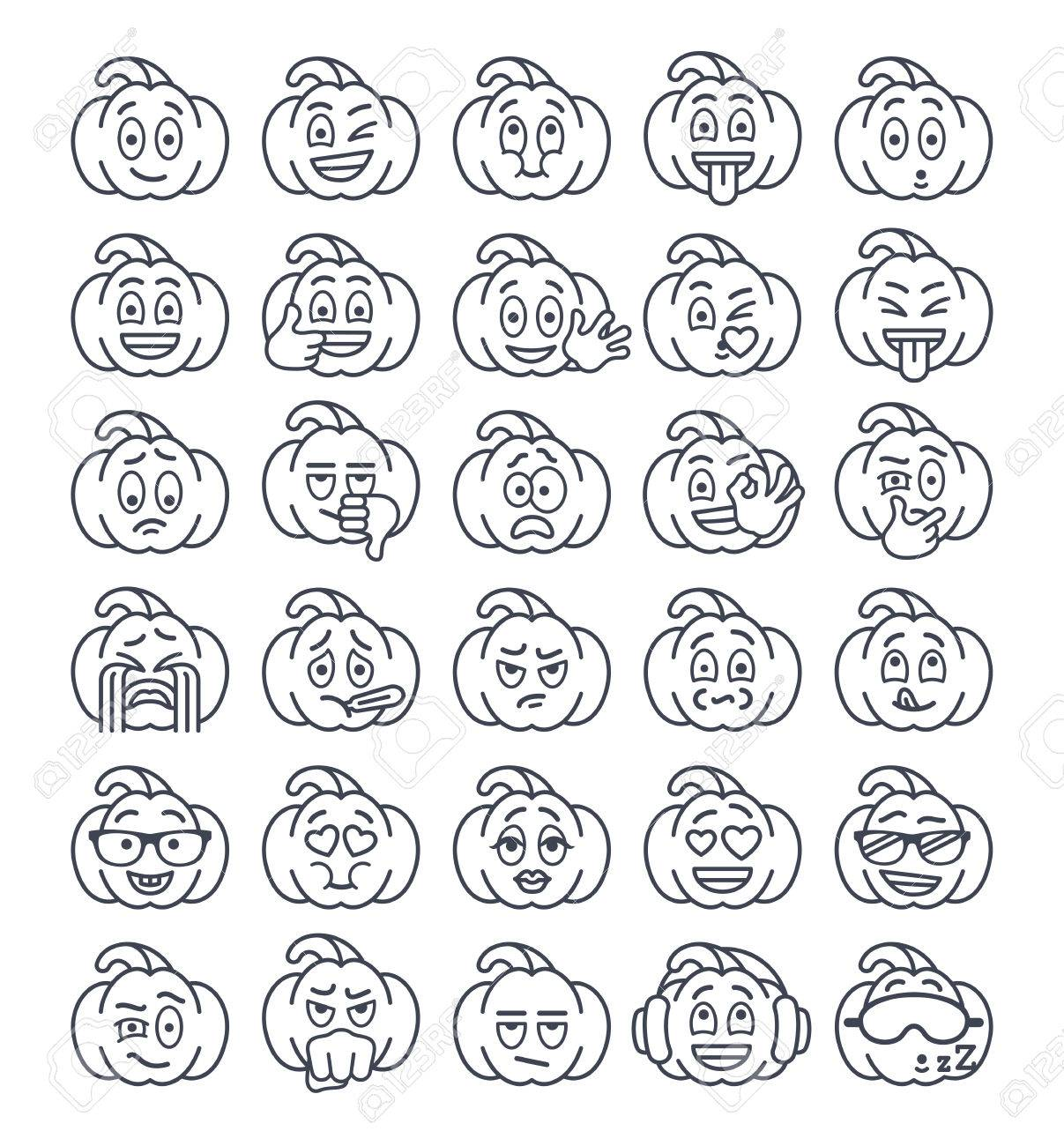 Halloween pumpkin thin line emoji emoticons linear smiley face halloween pumpkin thin line emoji emoticons linear smiley face holiday symbol flat vector icons biocorpaavc Gallery