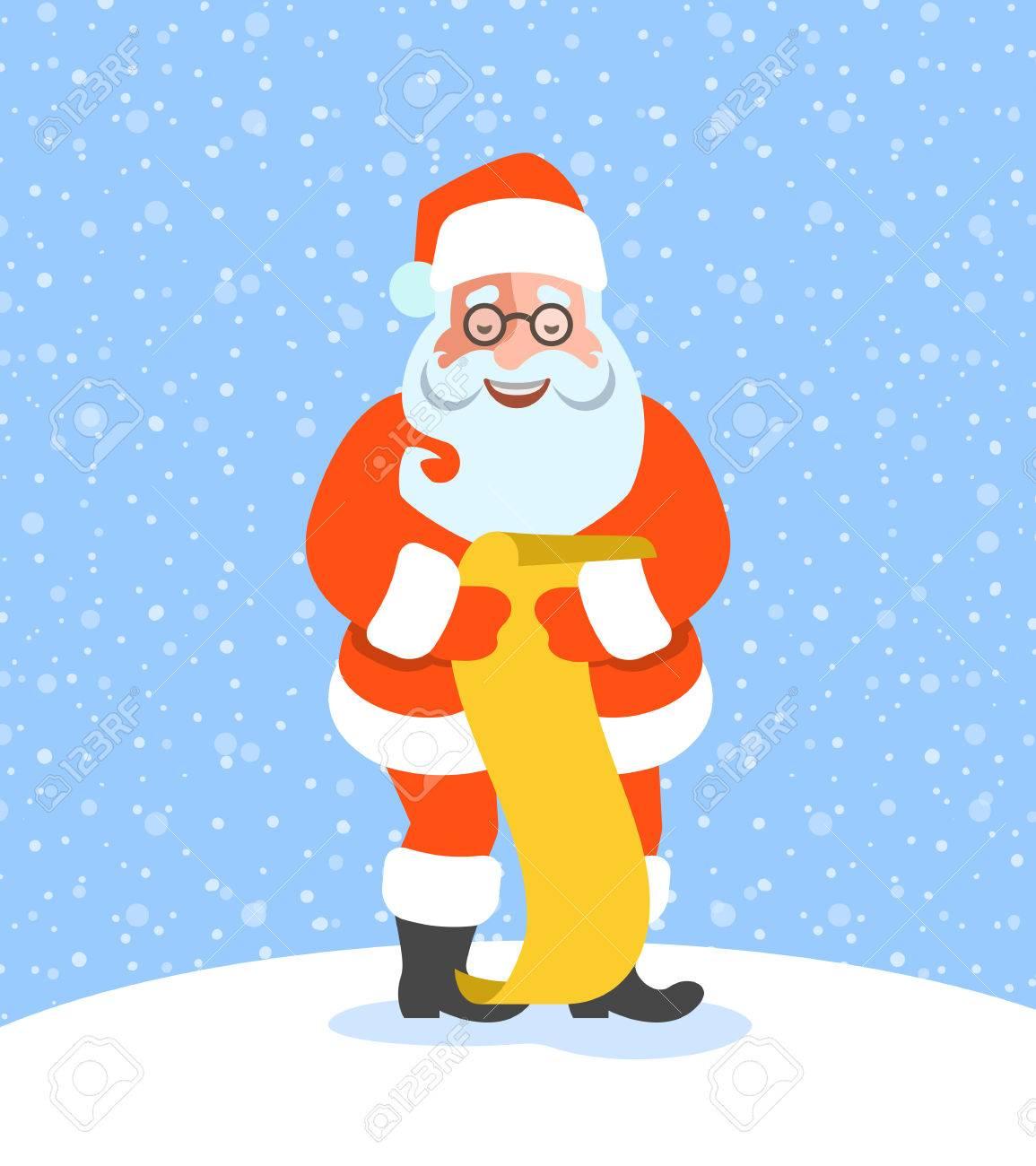 Santa Claus Reads Naughty Or Nice Kids List Cartoon Vector