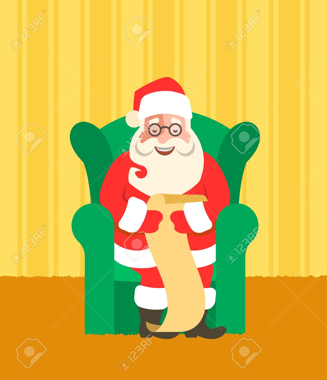 santa claus sits in a chair and reads naughty or nice kids list