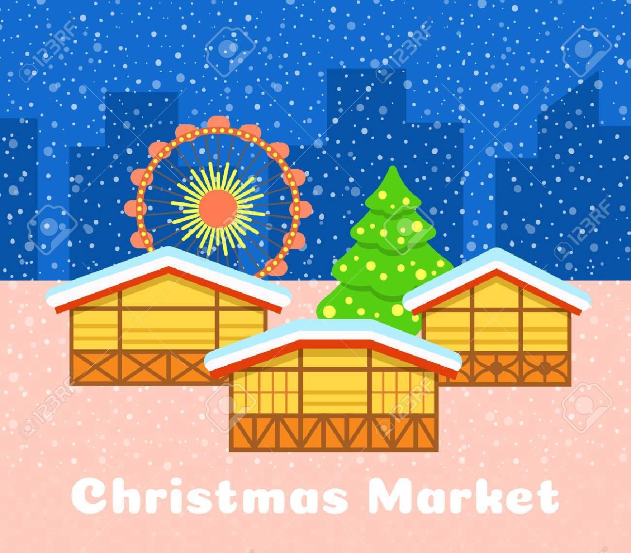 Christmas market vector background. Festive fair illustration. Street stalls, Christmas tree and observation wheel. Urban snowy evening landscape. Traditional celebration of winter holidays - 66620583