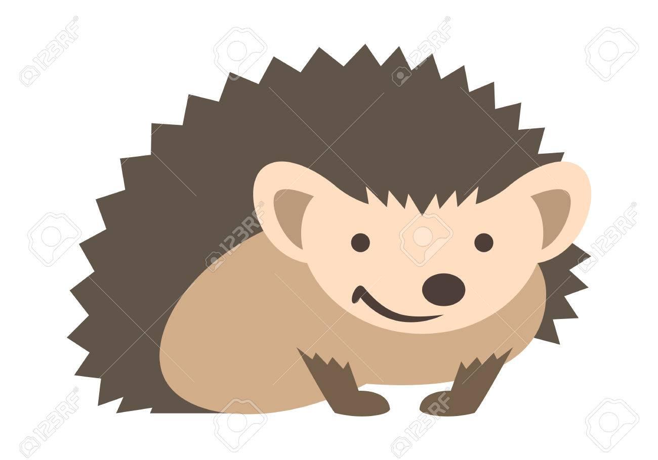 Cute Smiling Small Prickly Hedgehog Baby Vector Kids Cartoon