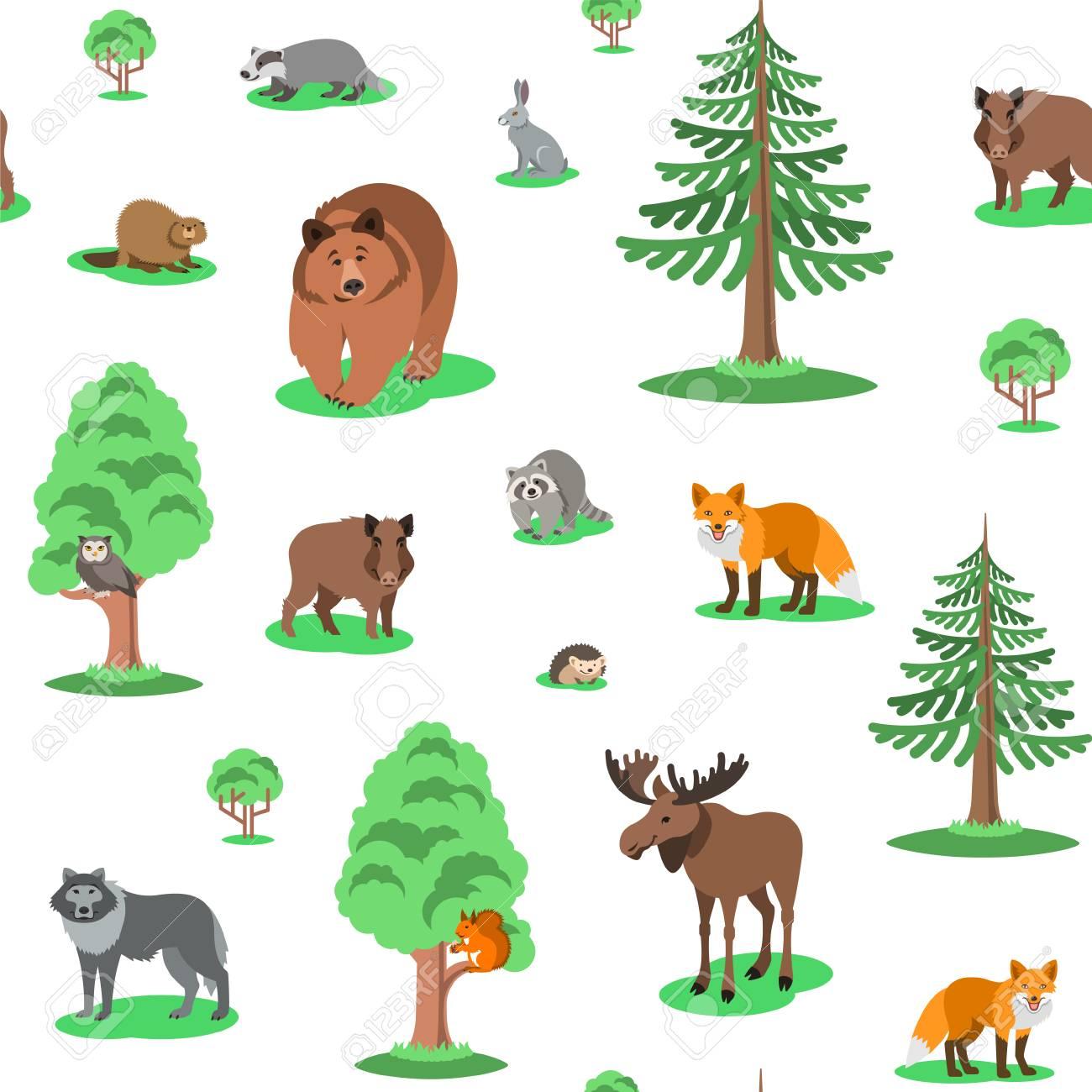 かわいい森の動物のシームレスな背景パターン。ベクトル漫画のイラスト