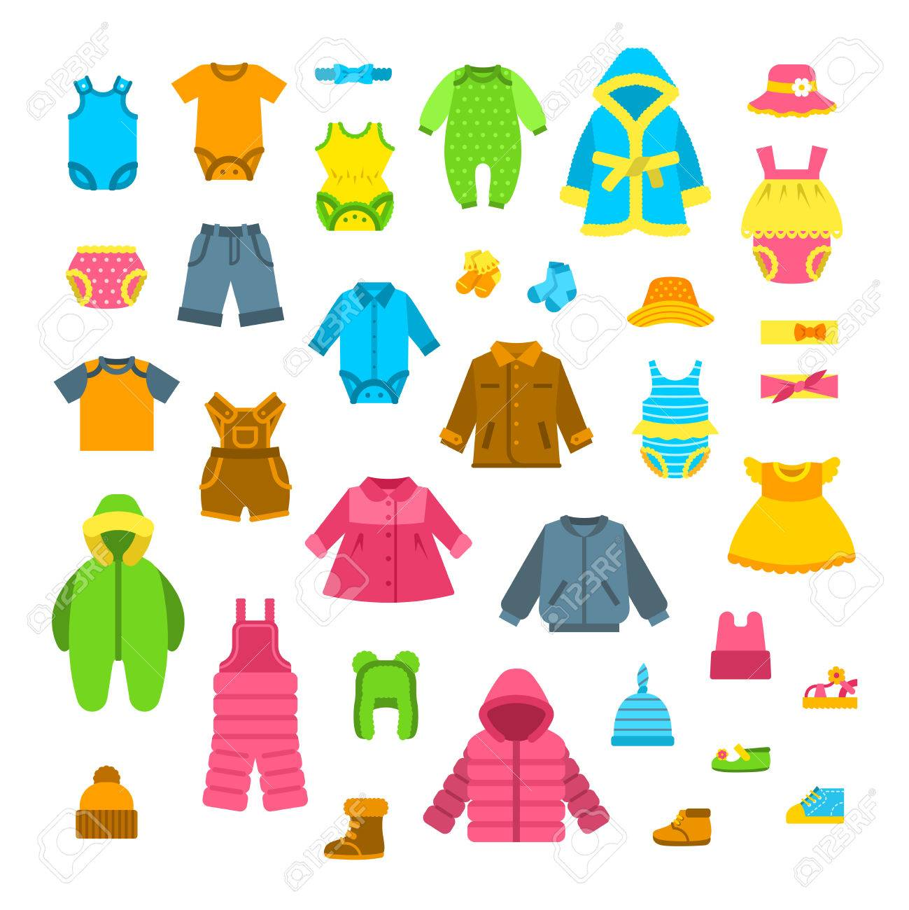 baby clothes vector illustrations set newborn kid outfit flat