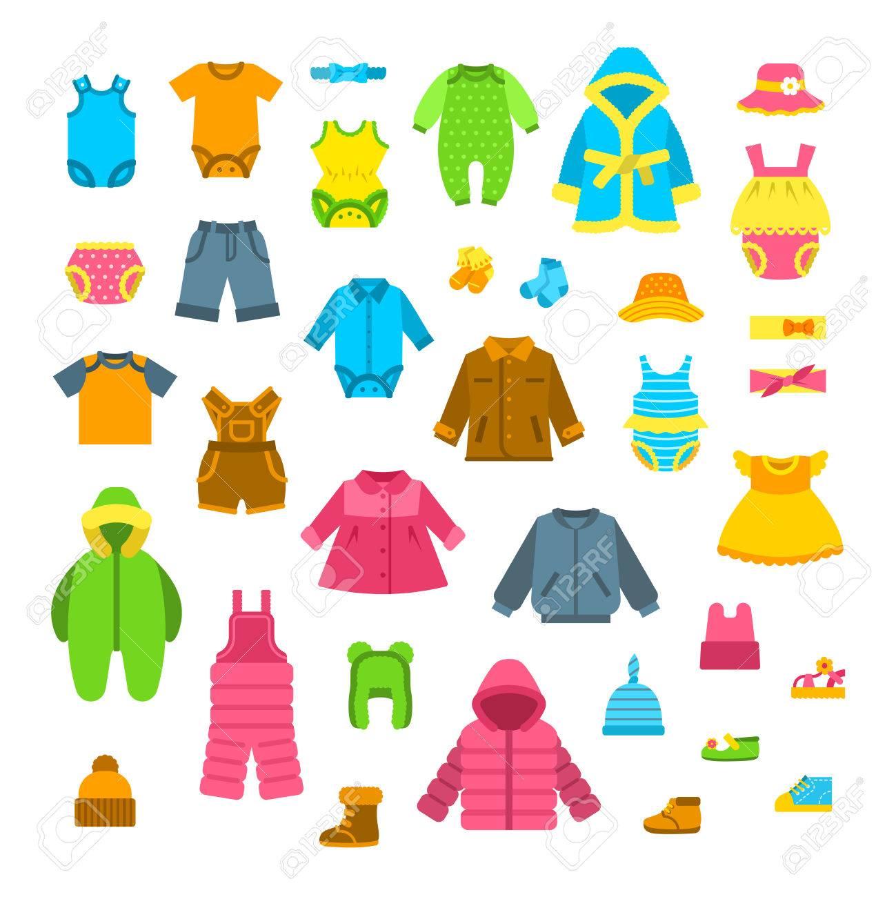 37458752083 Ropa De Bebé Conjunto De Ilustraciones Vectoriales. Niños Recién Nacidos  Traje Plana Iconos. Niña Y Niño Ropa Elementos De Dibujos Animados.