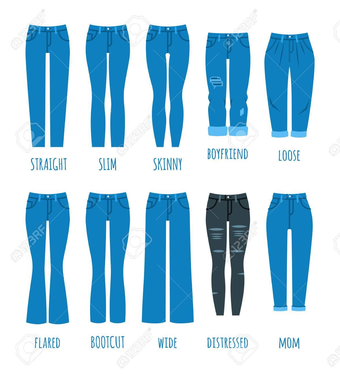 ff29b3c94e60de Frauen Jeans Stile Sammlung. Denim Mode weibliche Hosen. Trendige Modelle  aus Baumwollhosen für modernes