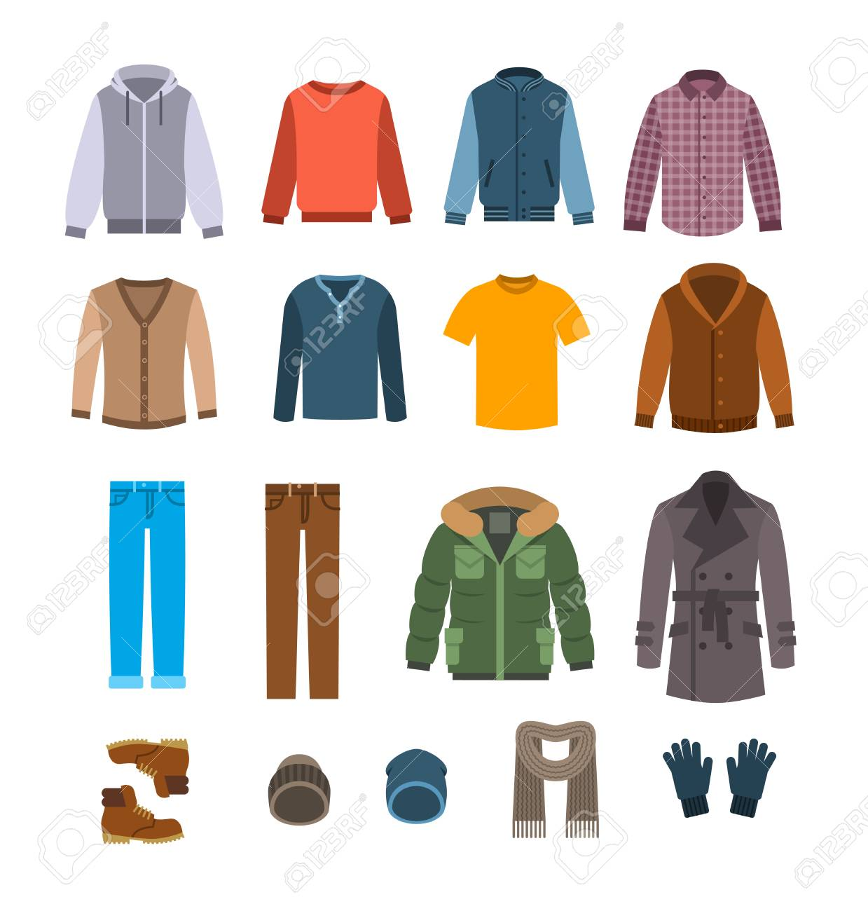 Warm clothes for men. Winter collection of modern male casual outfit. Vector flat illustration. Fashion style icons. Cold season garments. Wardrobe graphic elements - 91216966