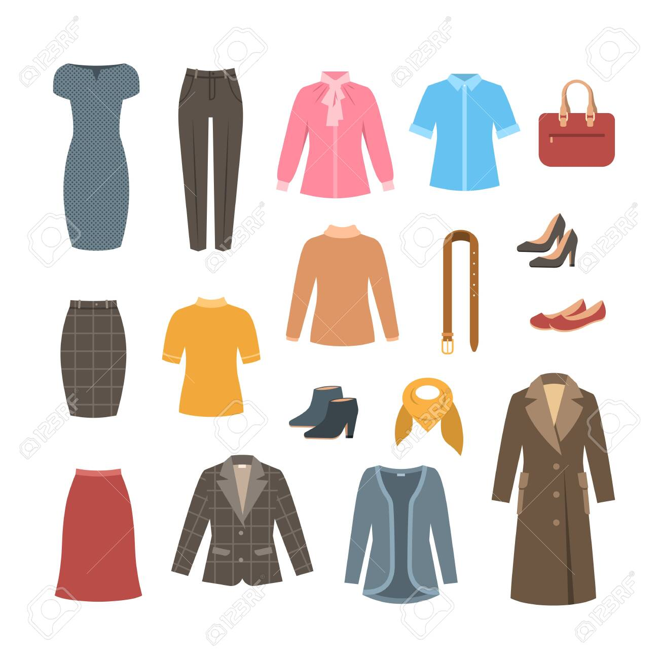 Business woman basic clothes and shoes set. Vector flat illustration. Office formal dress code outfit. Cartoon illustration. Icons of dress, skirt, jacket, coat, trousers, shirt, bag, boots. - 130638126