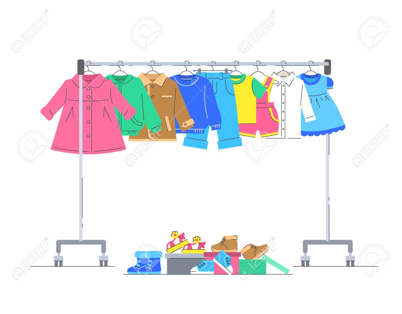 Baby Clothes On Hanger Rack With Shoes Flat Lines Vector Illustration Royalty Free Cliparts Vectors And Stock Illustration Image 138417016
