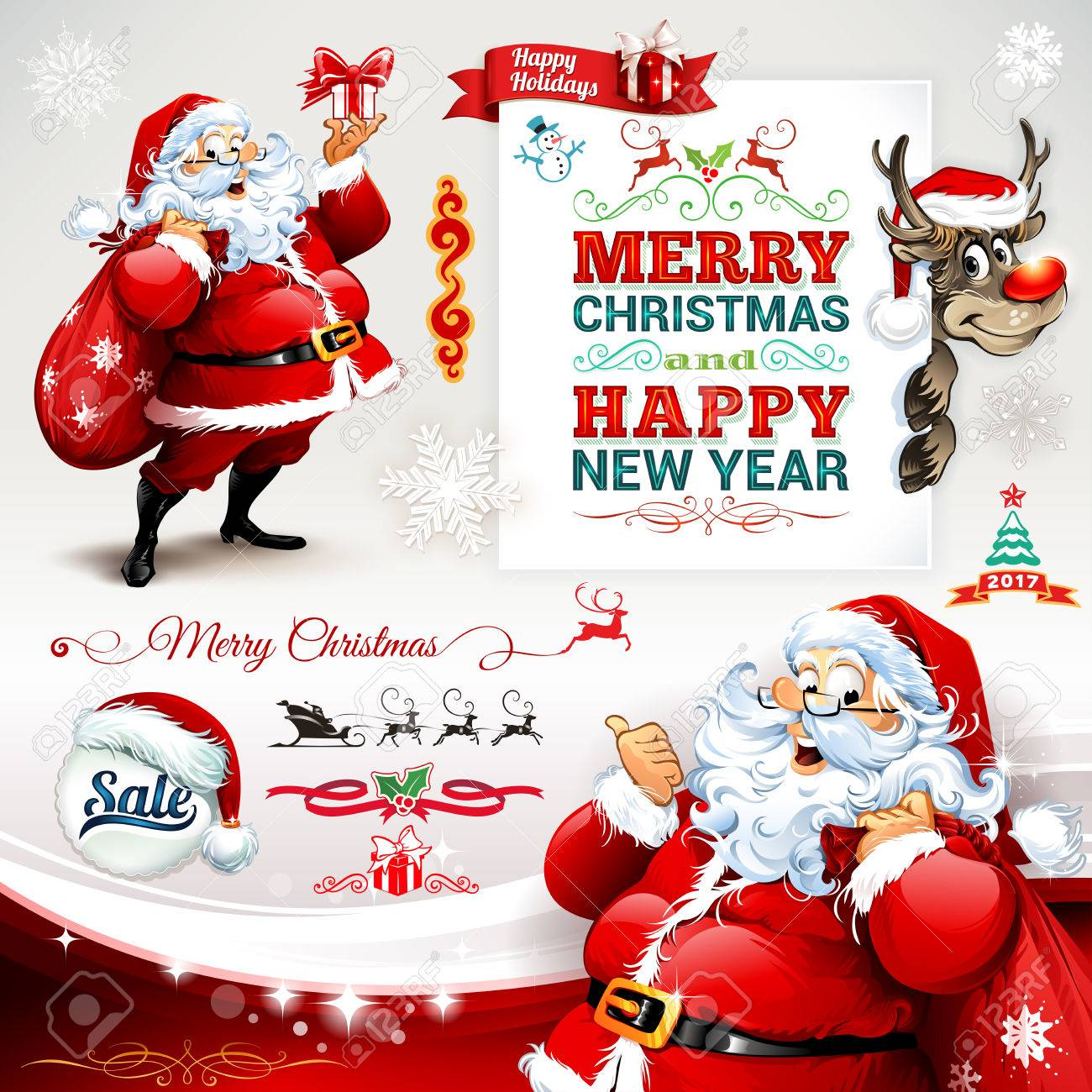Vector set of vintage Christmas labels, badges and banners with cartoon Santa Claus character, present, tree, hat, sleigh, snowman and reindeer retro illustrations. Calligraphic and typographic design elements. - 63010783