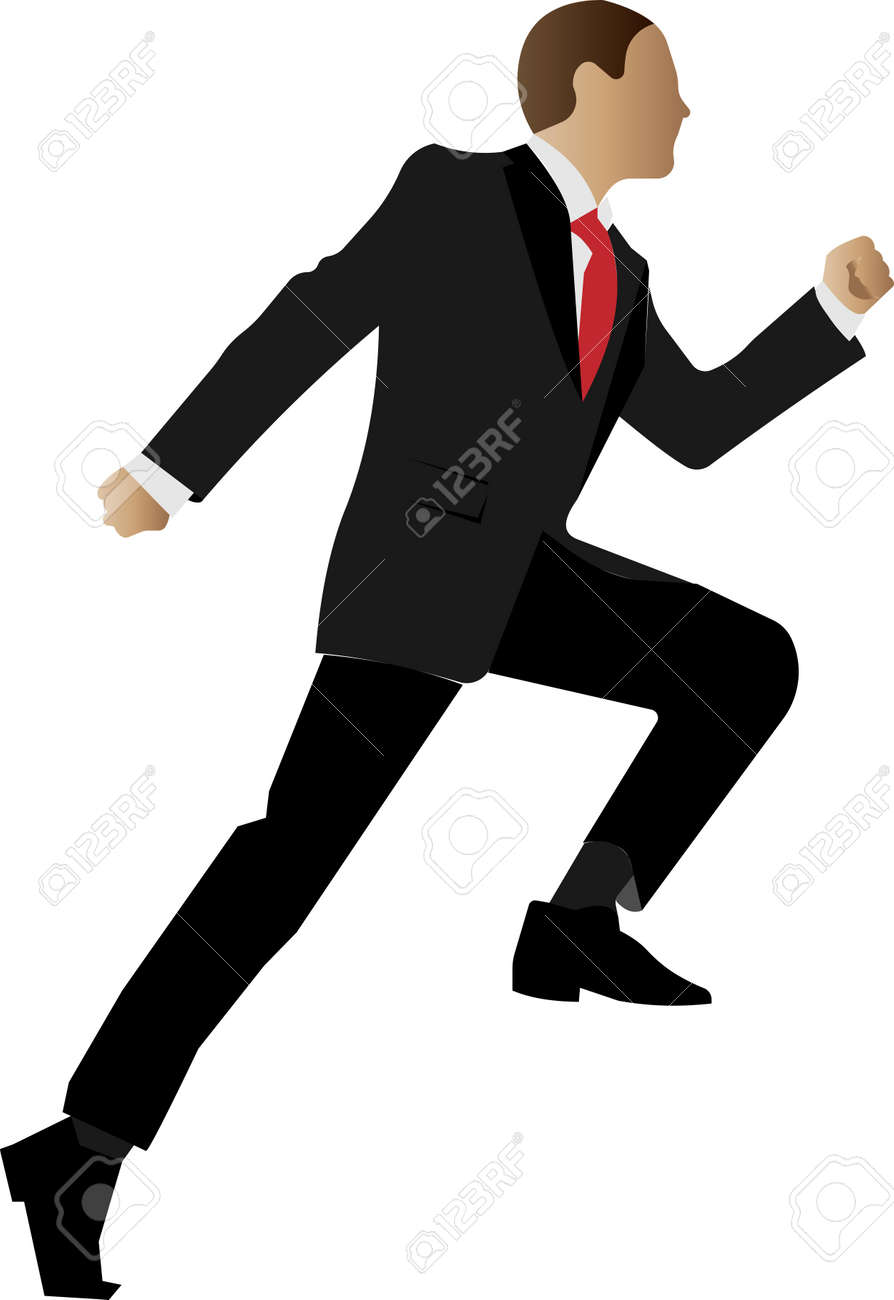 A running businessman in a classic suit. Hes late for a business meeting. Vector illustration of a character with an unrecognizable anonymous face. - 163495146