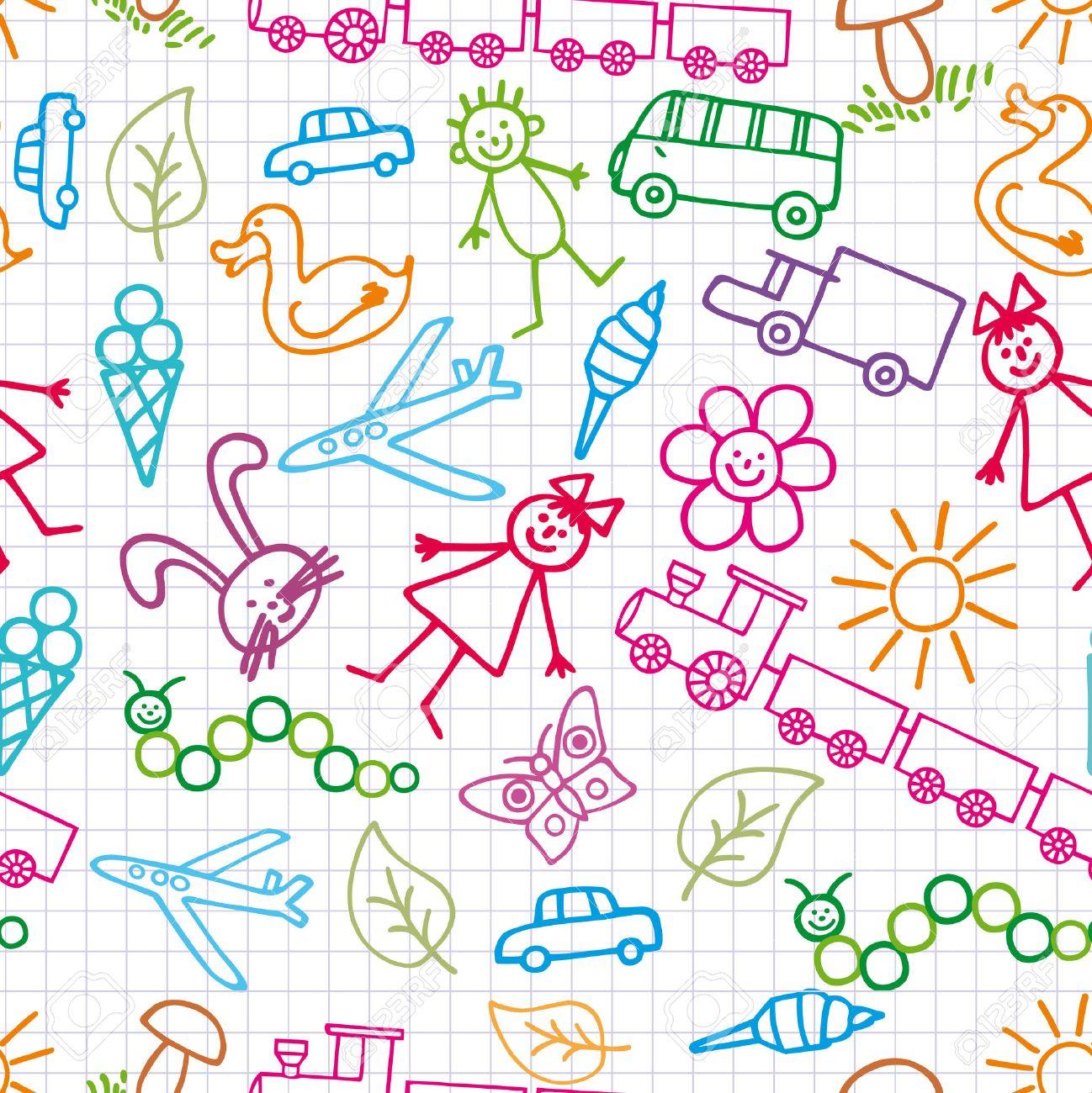 Children's drawings. Doodle background. Stock Vector - 8082290