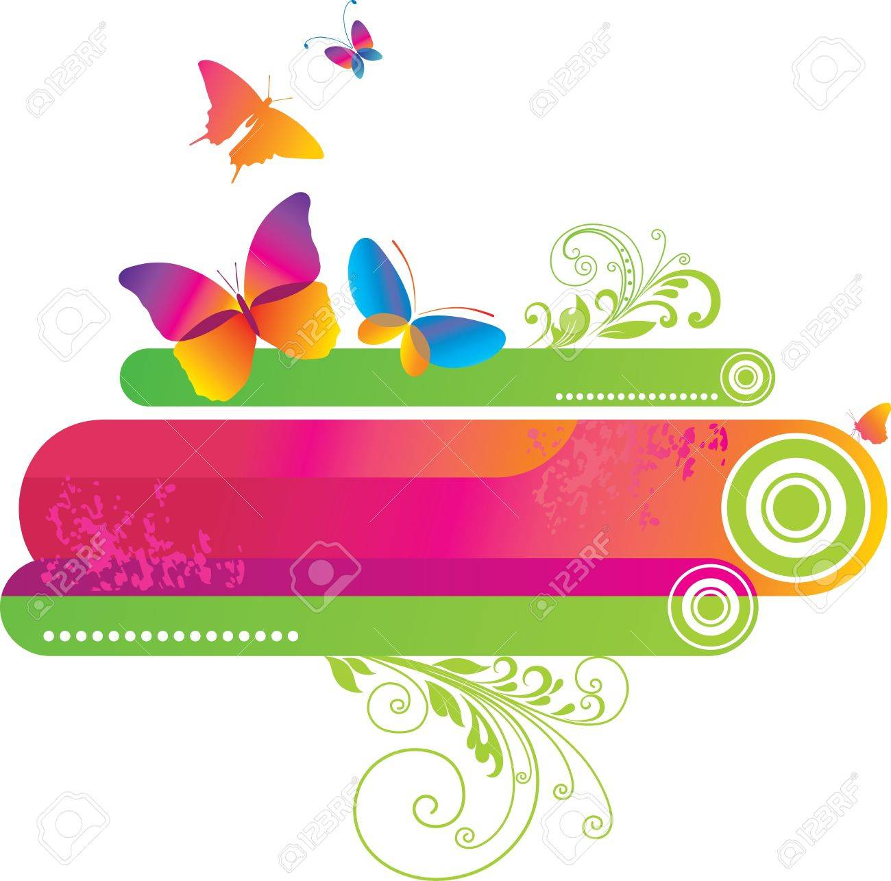 Colorful background with butterfly. Stock Vector - 9722270