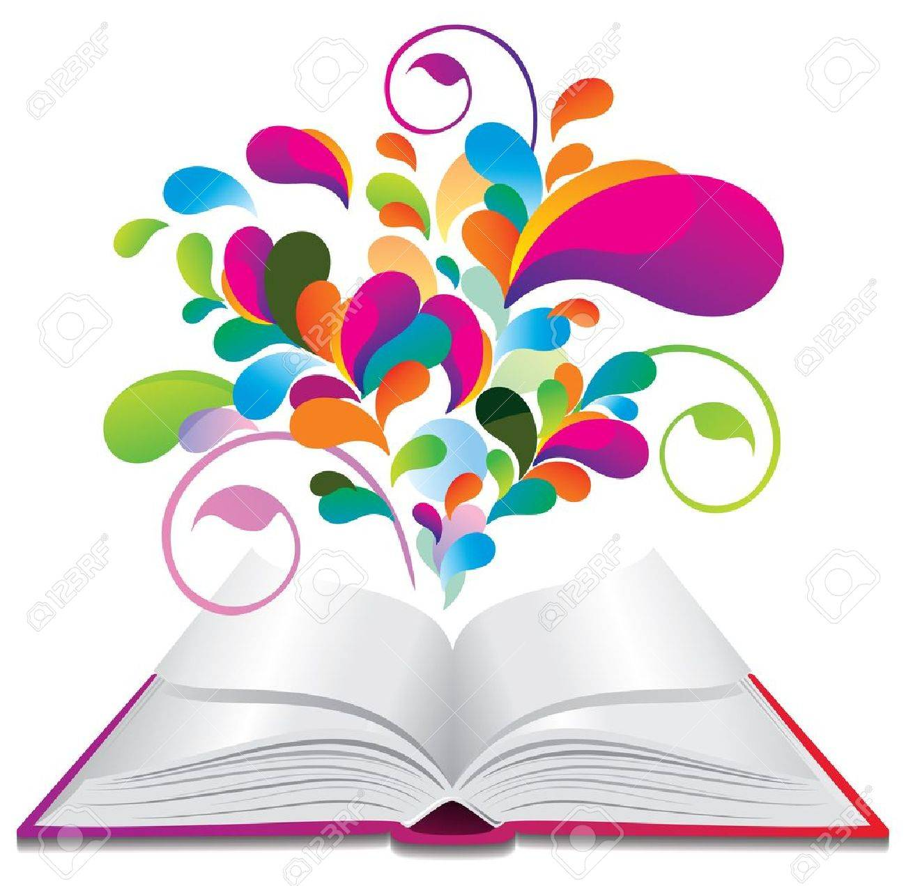 Open book with color splash. Stock Vector - 10812375
