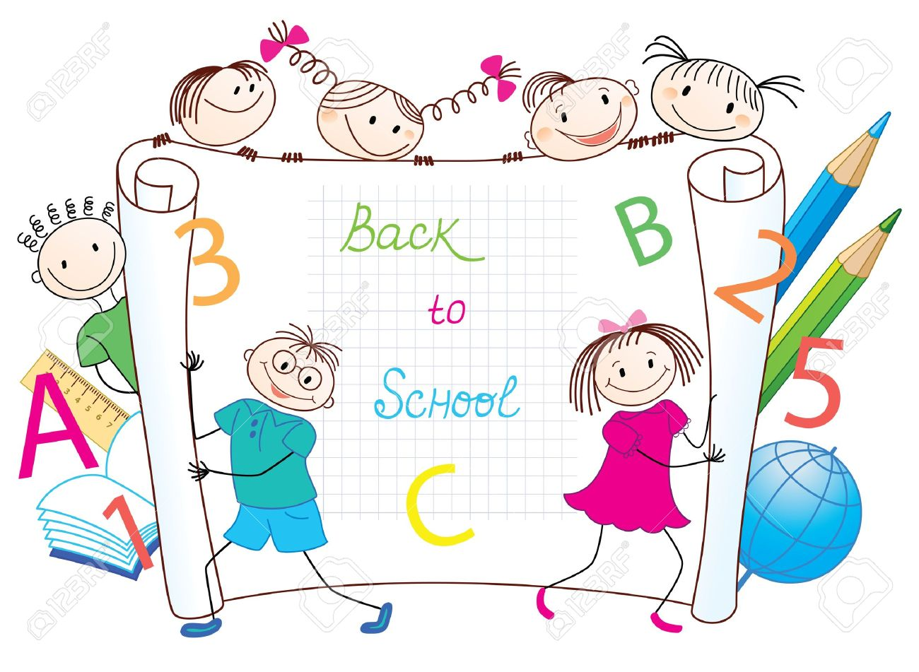 Back to School  Group of funny children Stock Vector - 14470202