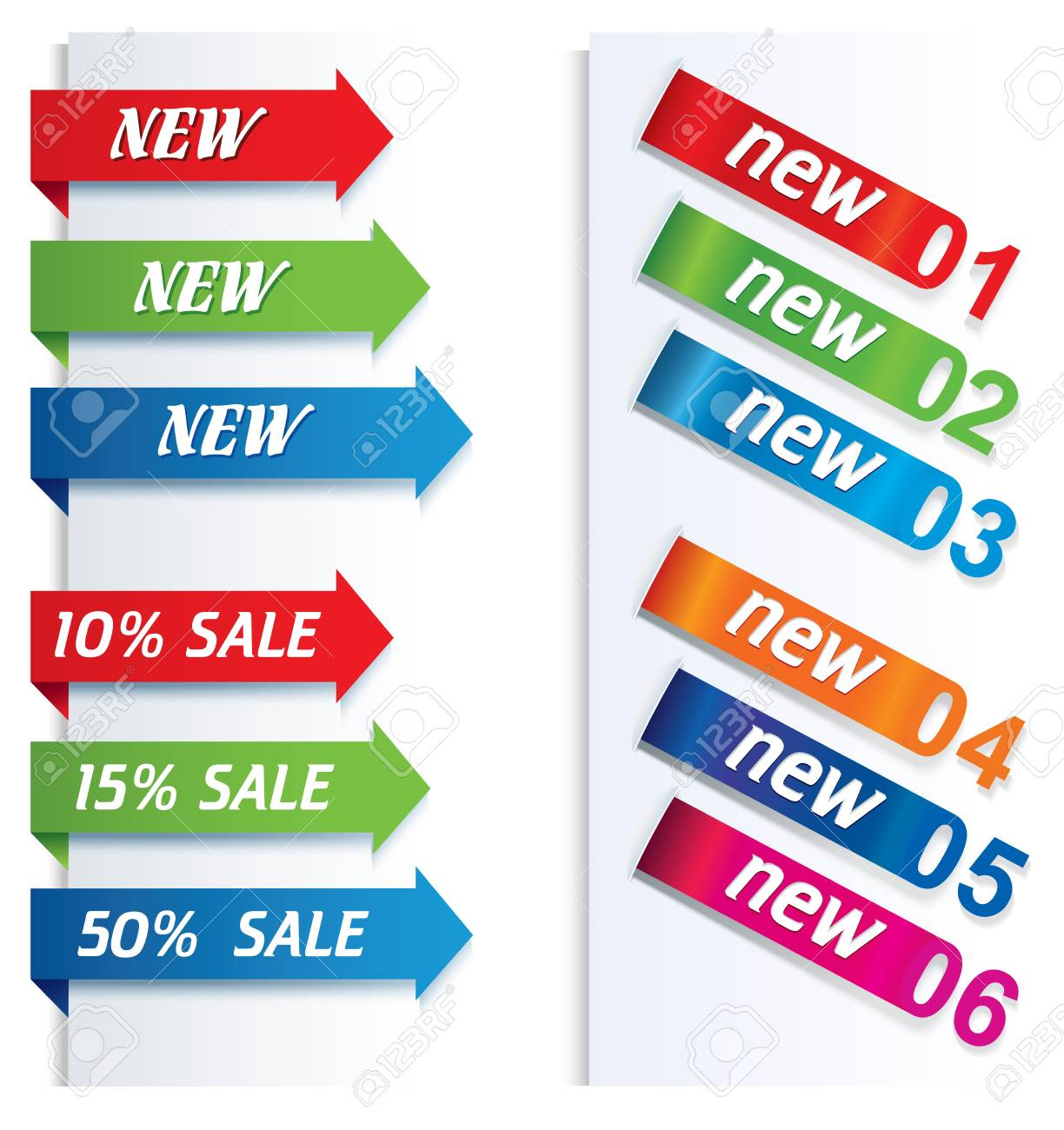 Colorful arrows and labels. Stock Vector - 16873101