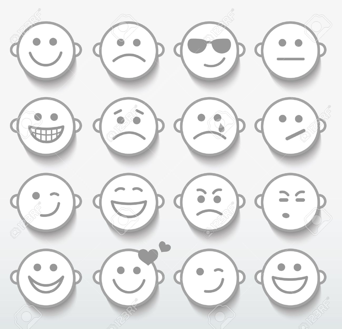 Set Of Faces With Various Emotion Expressions. Royalty Free ...