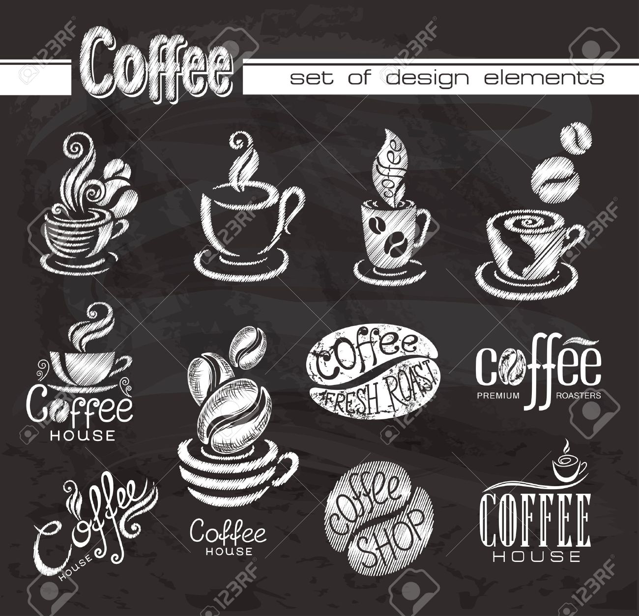 coffee design elements on the chalkboard royalty free cliparts
