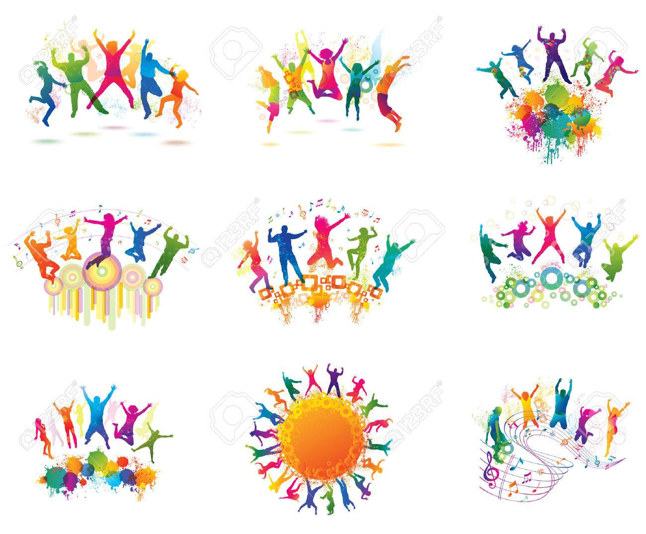 Young people on the party. The dancing teenagers. Stock Vector - 44080541