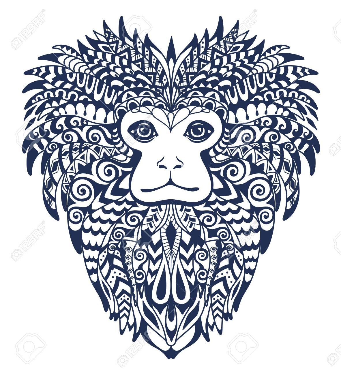 Patterned Head Of The Lion Tamarin Totem Tattoo And T Shirt