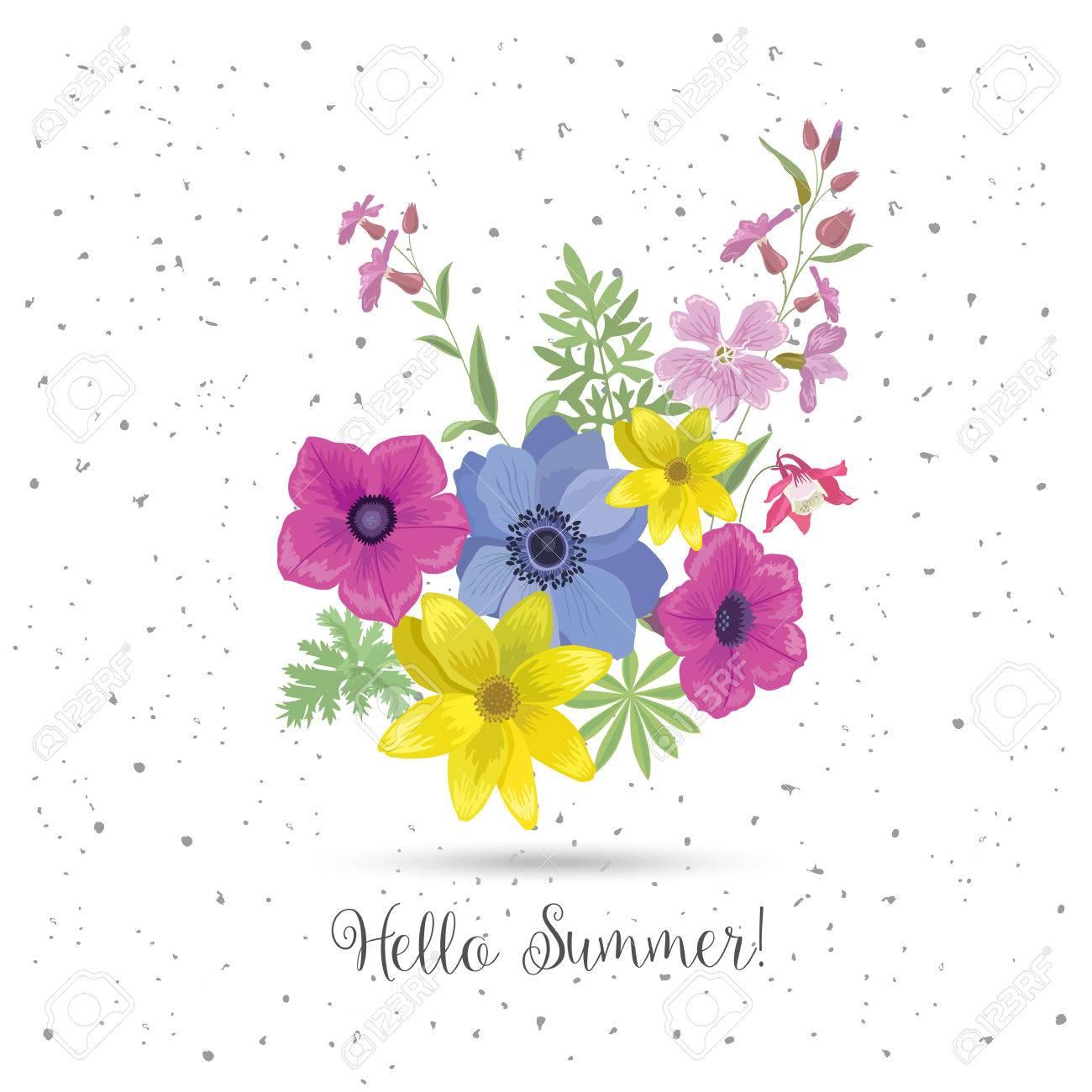 Schöne Grußkarte Mit Blumen. Sommer-Blumenstrauß Und Slogan. Saison ...