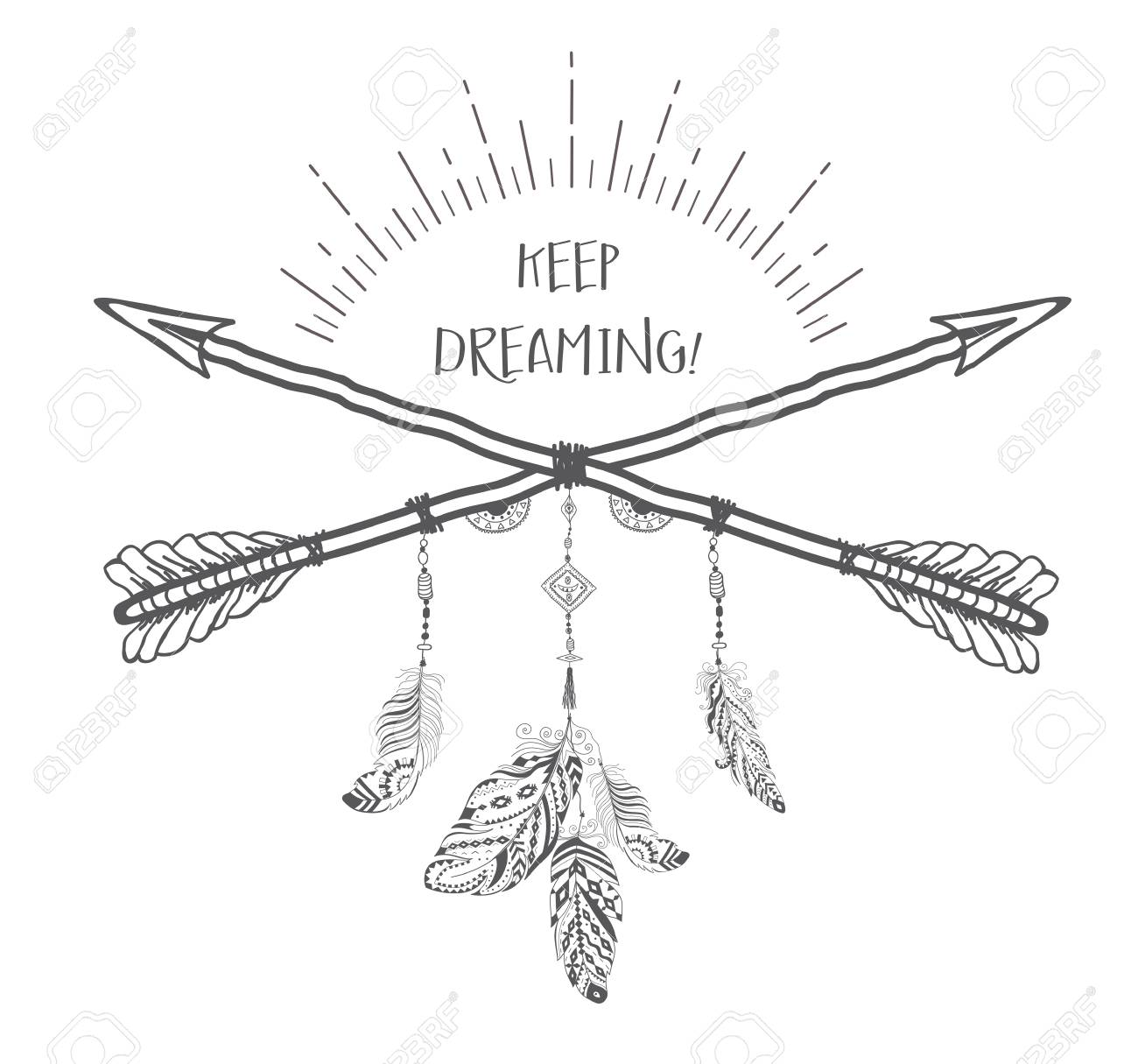 boho style with ethnic arrows and feathers american indian motifs