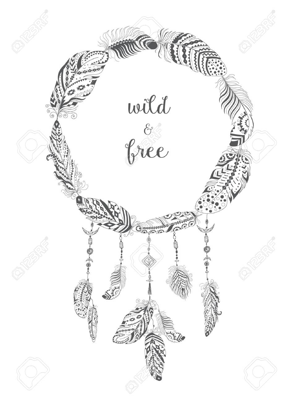boho style frame with ethnic arrows and feathers american indian