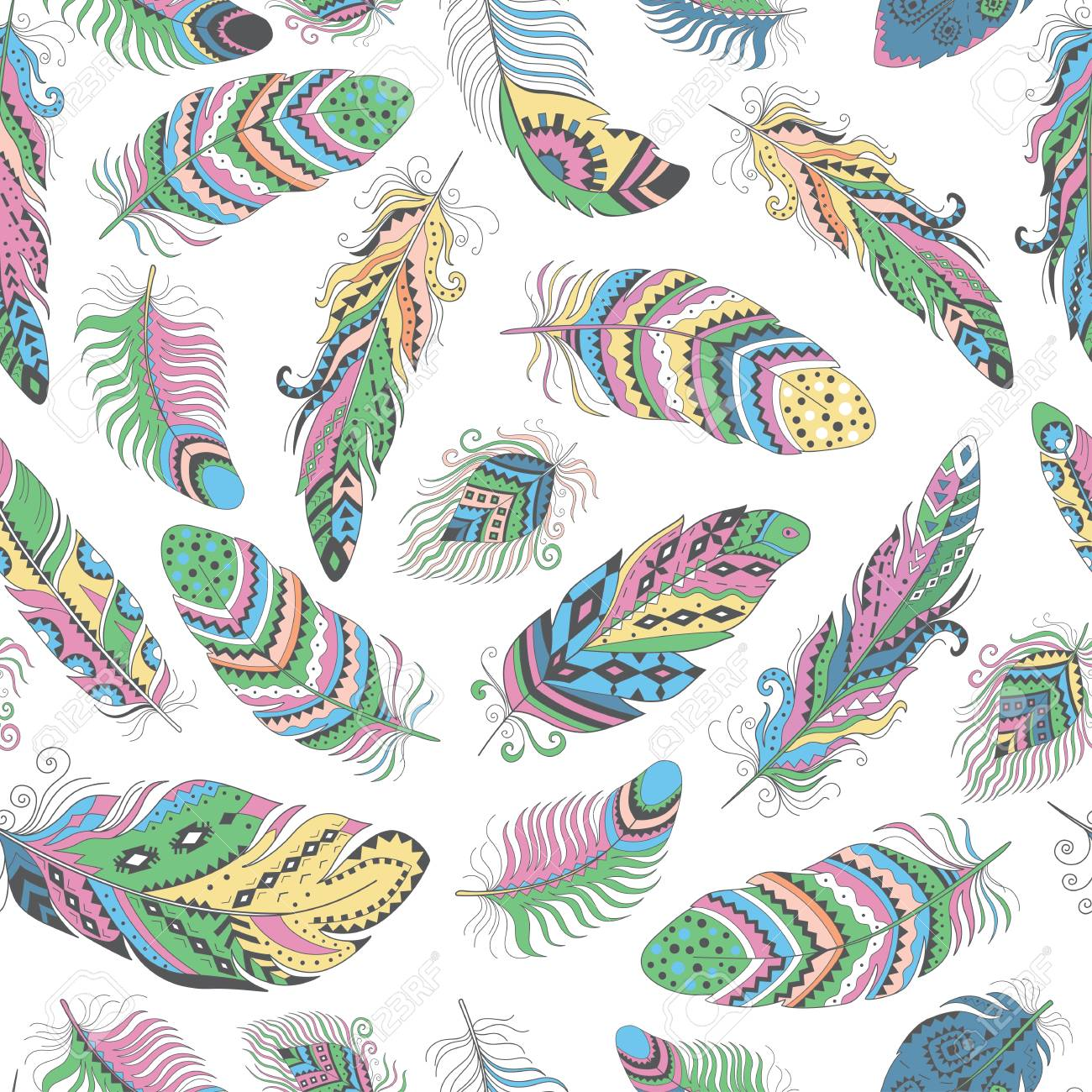 Feathers Boho Seamless Pattern Tribal Ethnic Background Texture Clothing Design Wallpaper Wrapping