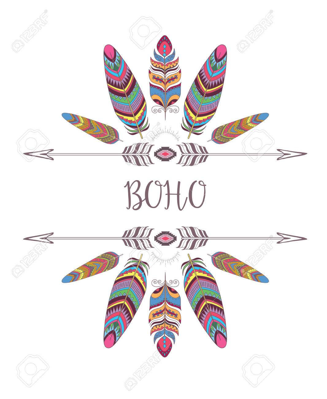Boho Style Frame Border With Decorative Bird Feather Design For T Shirt