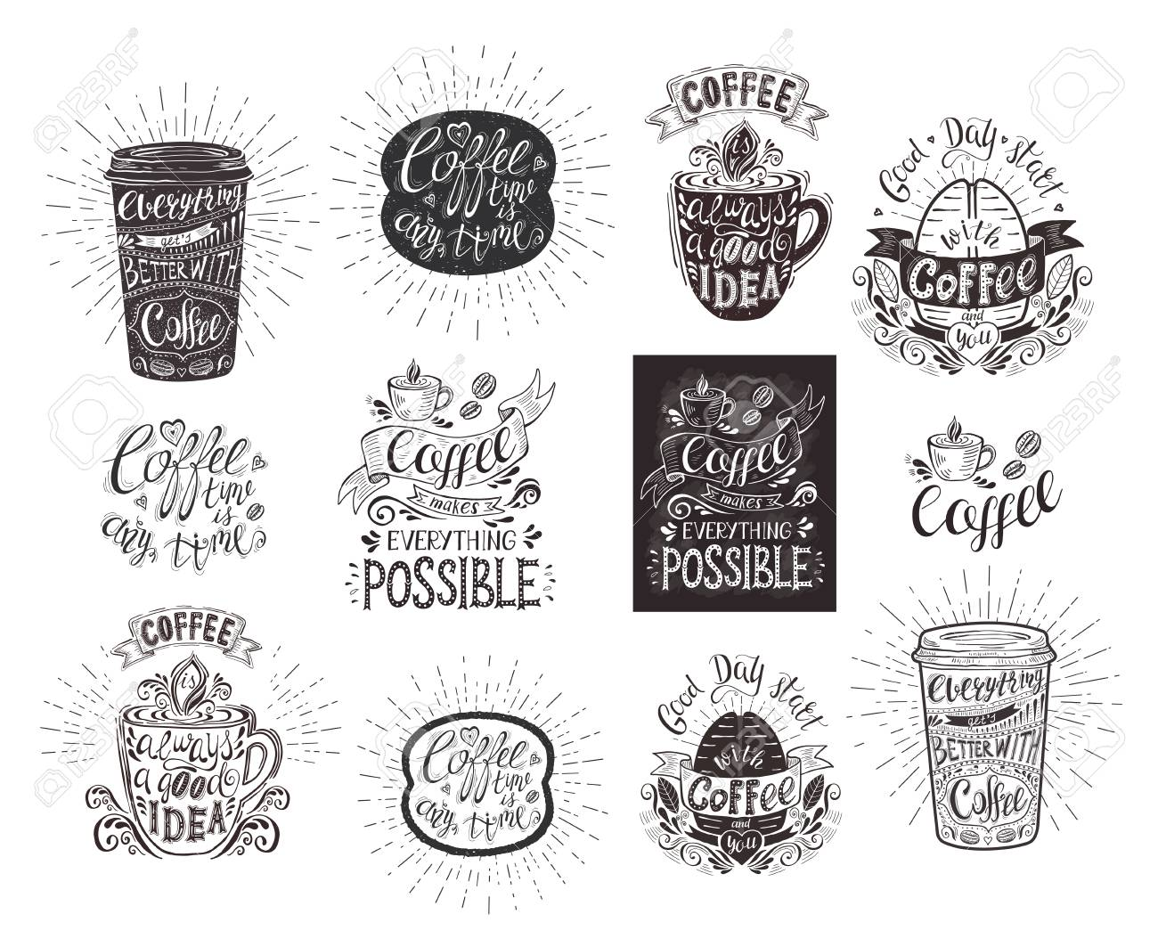 Set Of Coffee Quotes Vector Handdrawn Lettering For Prints