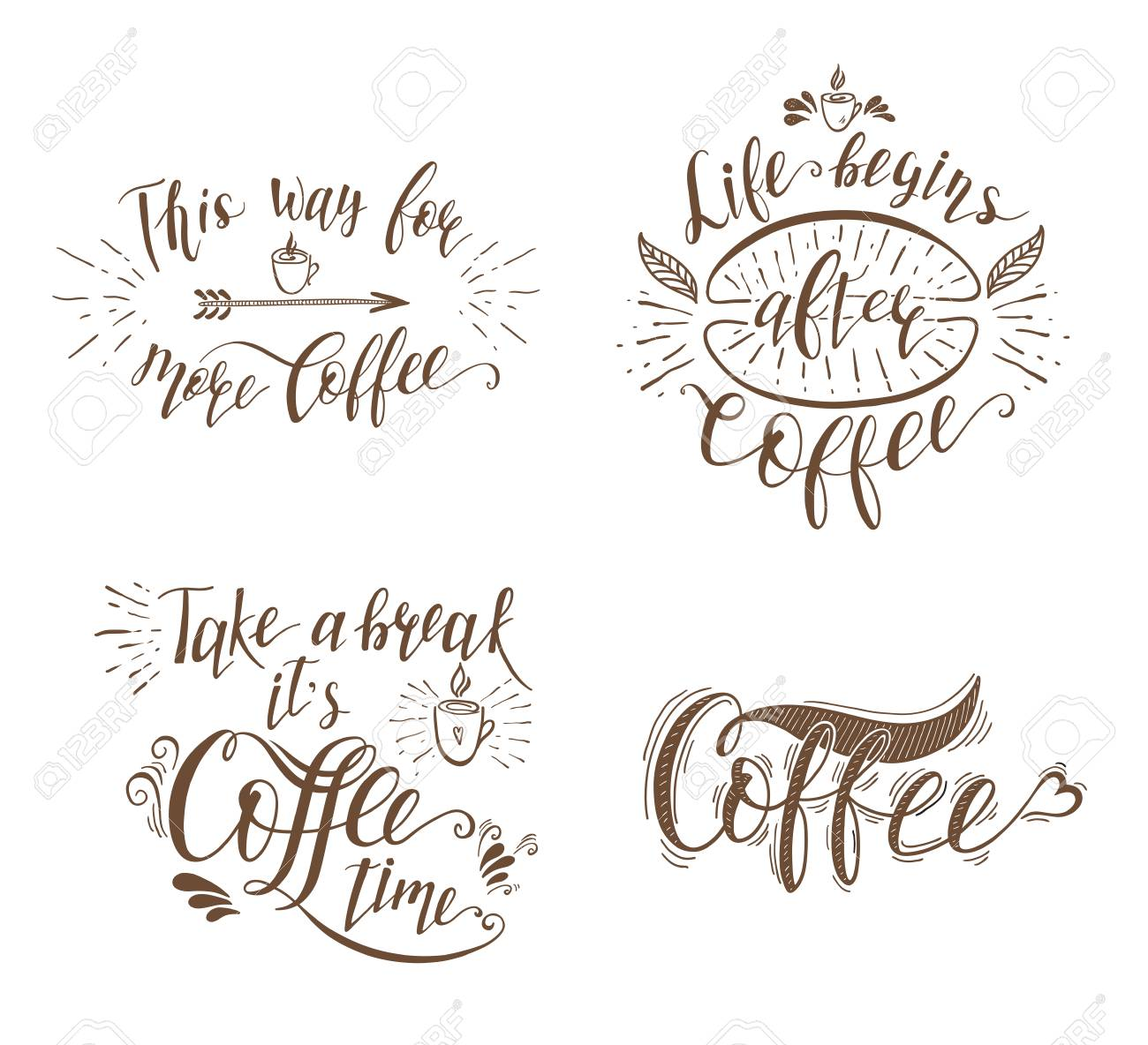 Set Of Quotes For Coffee Vector Hand Drawn Lettering For Prints