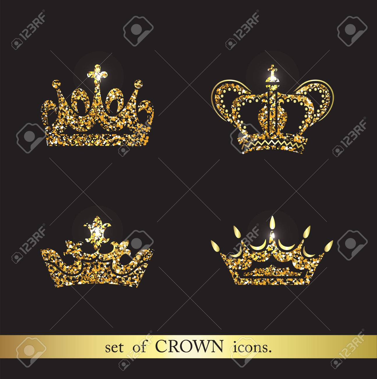 set of vector gold crown icons logo royal design elements stock