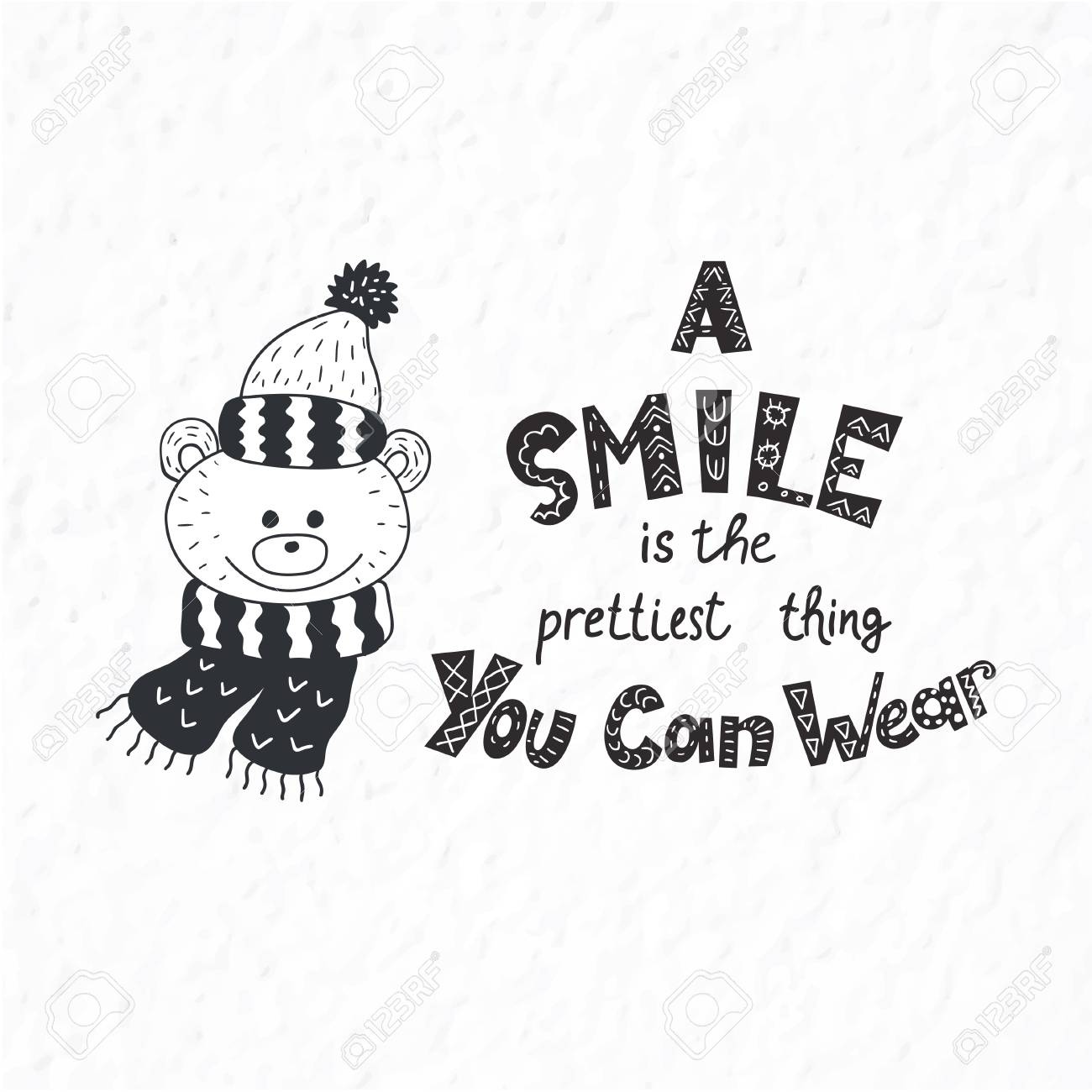 Funny bear. Winter postcard with quotes and phrases. Hand drawn..