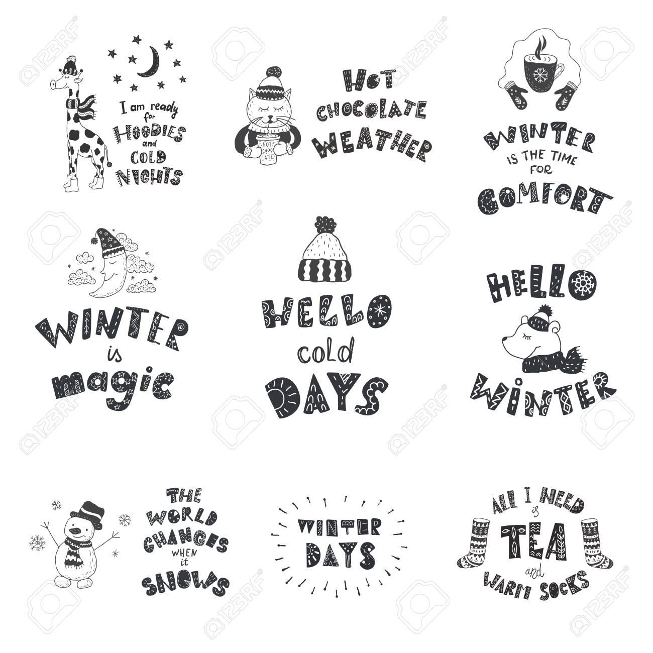 Set Of Cute Animals And Winter Quotes. Nursery Art. Minimalist