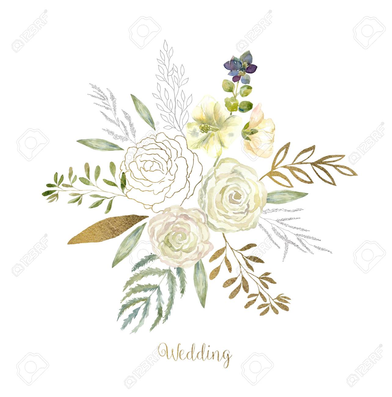 Watercolor Art With Fresh Flower Bouquet For Wedding Floral Stock Photo Picture And Royalty Free Image Image 111191473
