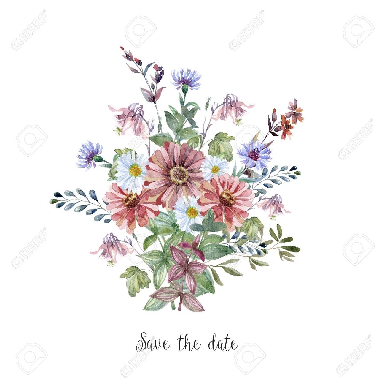 Watercolor Art With Fresh Flower Bouquet For Wedding Floral Stock Photo Picture And Royalty Free Image Image 111191531