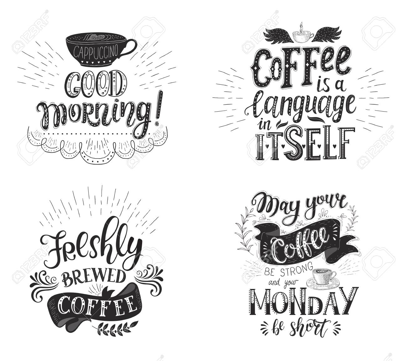 set of coffee quotes vector hand drawn lettering decoration
