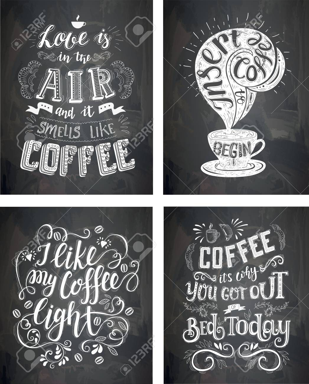 Chalkboard Quotes | Set Of Coffee Quotes On The Chalkboard Vector Hand Drawn Lettering